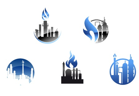 polluting: Refinery factory icons and symbols for industry design