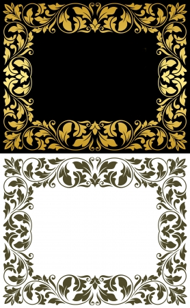 aristocratic: Vintage frames in victorian floral style for design and ornate Illustration