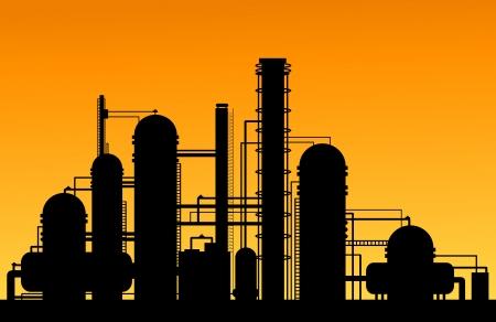 yacimiento petrolero: Química silueta fábrica para el diseño industrial y la tecnología