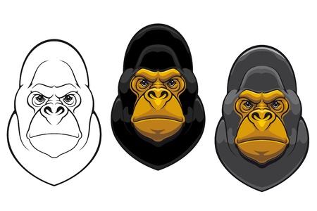 silueta mono: Peligro mascota mono gorila en el estilo de dibujos animados aislado en el fondo blanco
