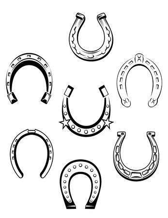 buena suerte: Conjunto de iconos herradura y símbolos para el diseño de concepto de suerte