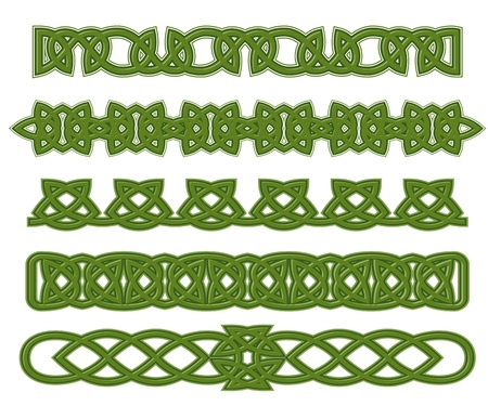 irish culture: Green celtic ethnic ornaments and traceries for design
