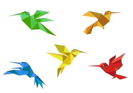 birds of paradise: Colorful hummingbirds set in origami paper style on white background