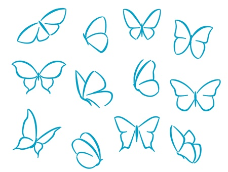 wings logos: Butterflies silhouettes for symbols, icons and tattoos design Illustration