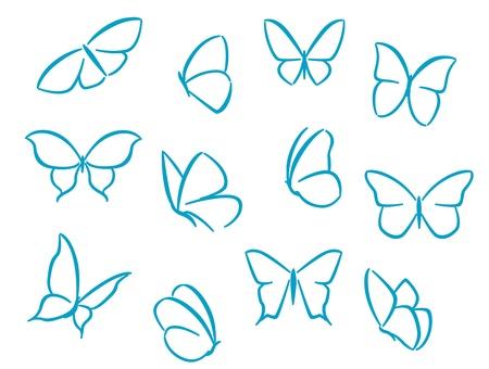 butterfly abstract: Mariposas siluetas de los s�mbolos, iconos y dise�o de tatuajes