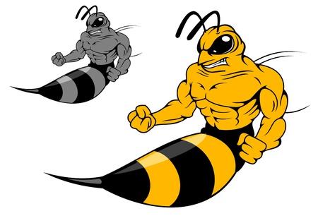 avispa: Peligro amarillo avispas con aguijón en estilo de la historieta para el diseño de la mascota