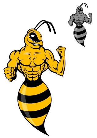 avispa: Potente avispa o avispón amarillo en el estilo de dibujos animados de mascota