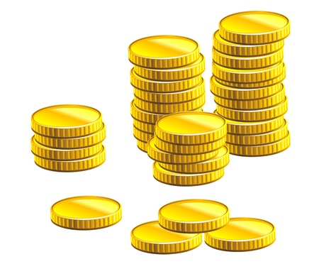 golden coins: Many gold coins isolated on white background for business and economic concepts design