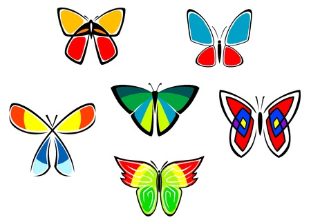 Colorful butterfly icons and tattoos set isolated on white background Stock Vector - 17292460