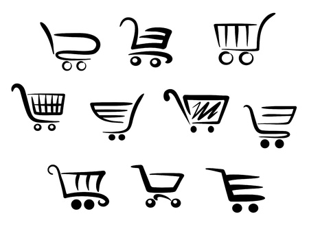 chrome cart: Shopping cart icons set for business and commerce projects