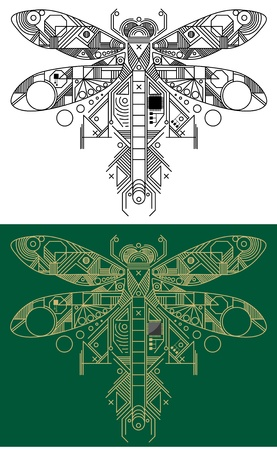 damselfly: Dragonfly with computer motherboard elements for technology concept