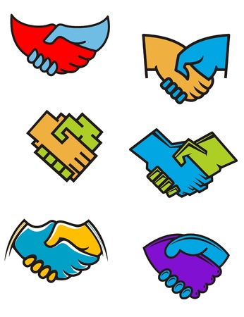 Handshake symbols and icons set for business or another design Vector