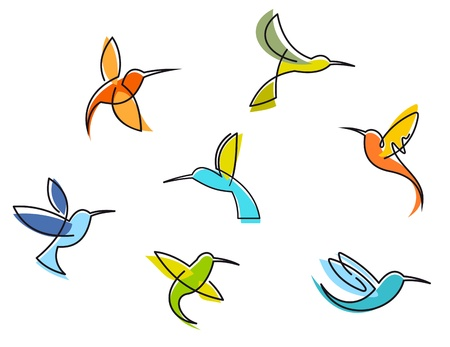 birds of paradise: Abstract colorful hummingbirds set isolated on white background