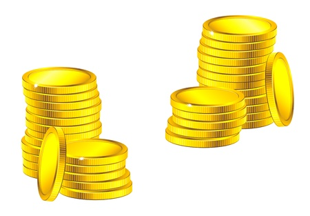 Columns of golden coins for business, saving or wealth concept design Vector