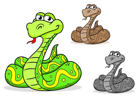 Cartoon python snake in three variations isolated on white background Stock Vector - 17441925