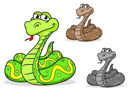 python: Cartoon python snake in three variations isolated on white background