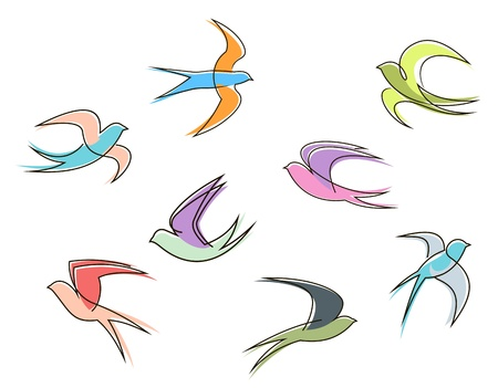 swallow: Set of swallow birds in abstract style isolated on white