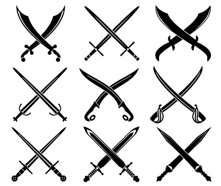 sword fight: Set of heraldic swords and sabres for design Illustration
