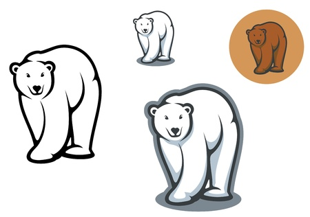 growl: Arctic and brown bear mascots isolated on white background