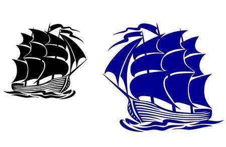 Galleone nave a vela in acqua di mare per viaggi o un altro disegno Vettoriali