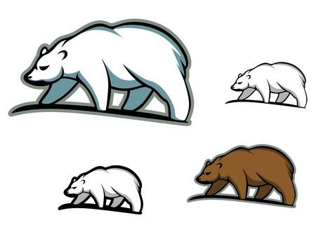 bear silhouette: Arctic porta in stile cartone animato per mascotte o emblema