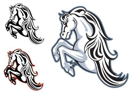 hoof: Wild horse stallion for mascot or tattoo design
