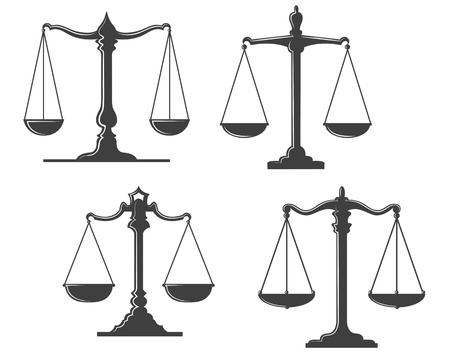 tribunal: Vintage and retro justice scales isolated on white background