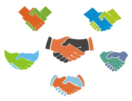 team hands: Business handshake symbols and icons set for partnership concept design