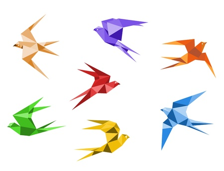 Swallows birds set in origami style isolated on white background