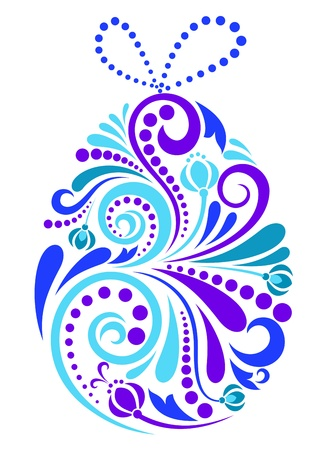 Easter floral egg in blue colors for spring religious holiday design Vector
