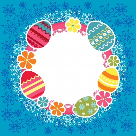 Easter frame with eggs and flowers for holiday design Illustration