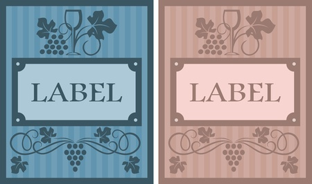 Wine labels in retro style with grape elements for beverages design Stock Vector - 17617836