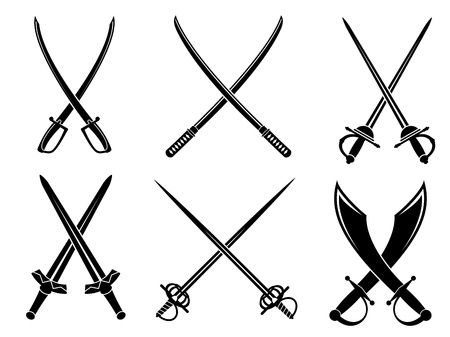 sword fight: Swords, sabres and longswords set for heraldry design Illustration