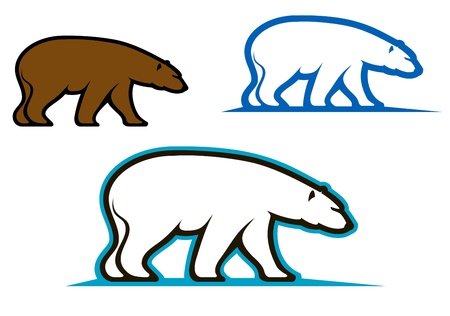 Wild bears emblems and silhouettes for mascot design Vector
