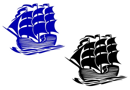 Brig sail ship in ocean water for travel or another design Vector