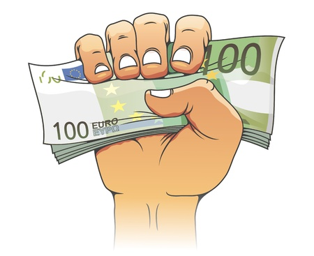 Euro banknote in people hand for finance concept Stock Vector - 17617844