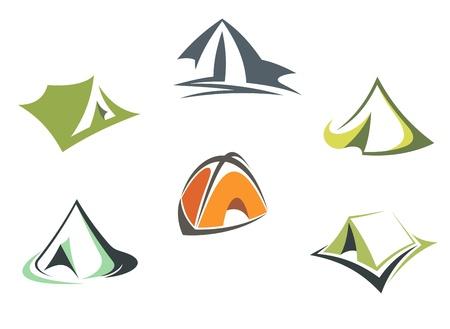 nylon: Travel and adventure camp tents set isolated on white background Illustration
