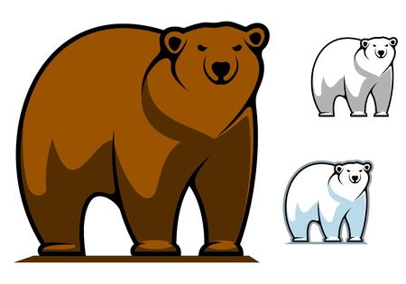 animal teeth: Funny cartoon bear for mascot or tattoo design