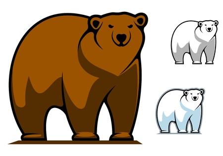 grizzly: Ours drôle de bande dessinée de mascotte ou conception de tatouage Illustration