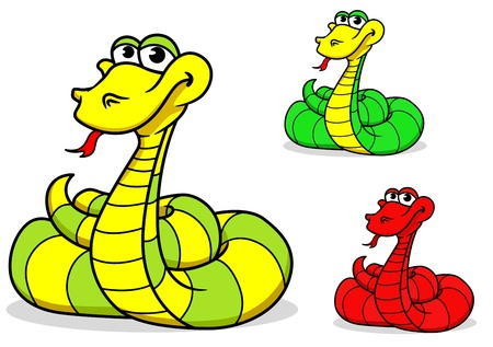 Cartoon funny snake for mascot or decoration isolated on white background Stock Vector - 17617843