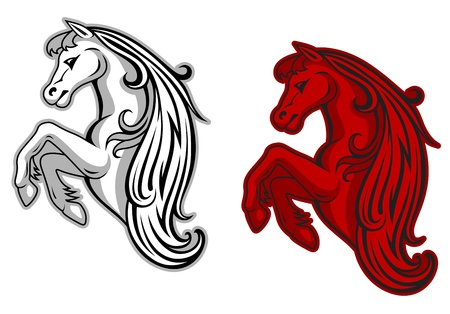 bronco: Wild horse in white and red color for mascot design