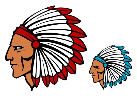 indian chief mascot: Brave tomahawk mascot in cartoon style for tattoo or another design