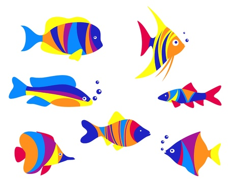 Abstract colorful aquarium fishes set isolated on white background Vector