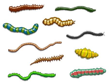 Worms, slugs and caterpillars set in cartoon style Stock Vector - 17617848