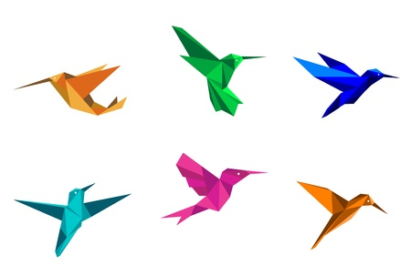 Colorful hummingbirds in origami paper style on white background