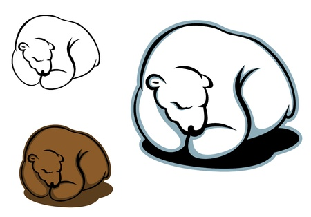 angry bear: Sleeping bear in cartoon style for any design