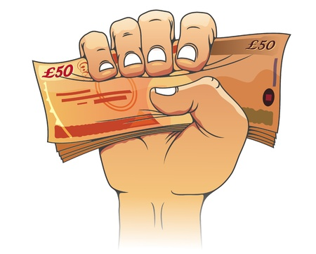 pound: Fifty pounds banknote in people hand for wealth or finance concept
