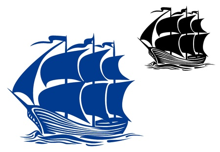 pirate cartoon: Brigantine sail ship for travel or another design