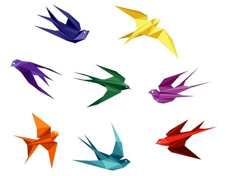 golondrinas: Swallows establecidos en estilo origami aislado en el fondo blanco Vectores