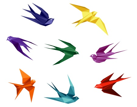 Swallows set in origami style isolated on white background Vector